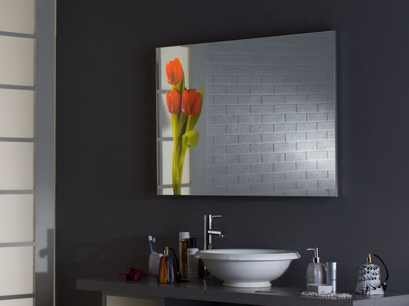 Rectangular wall-mounted framed Anodized aluminium mirror MH11 by UNICA by Cantoni