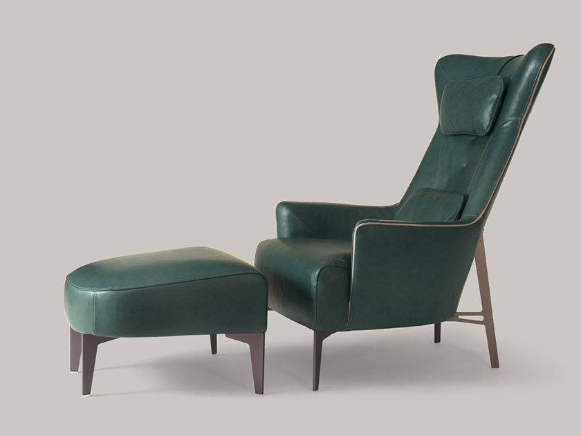 Bergere leather armchair MIA | Leather armchair by Borzalino