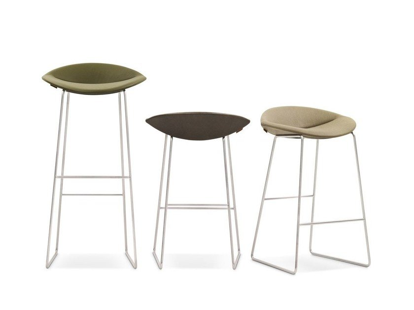 Upholstered sled base stool MICK by Montis