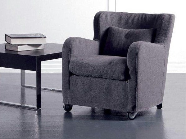 Fabric armchair with casters MICROMILLA | Fabric armchair by Marac
