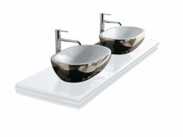 Double glass washbasin countertop MIDAS | Double washbasin countertop by GALASSIA