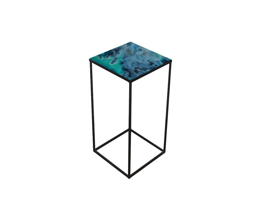 Square glass side table MIDNIGHT CRUSH by Notre Monde