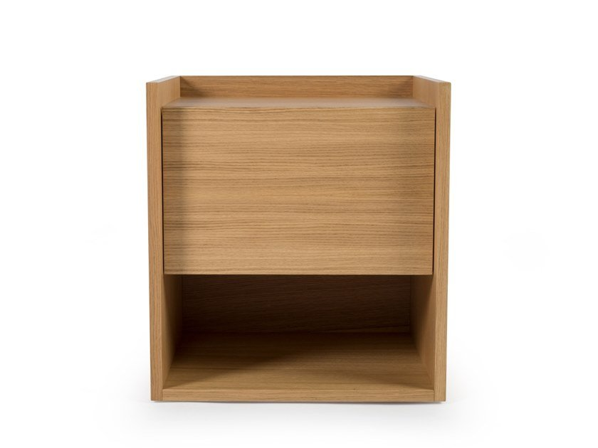 Rectangular wooden bedside table MIES S by Porventura