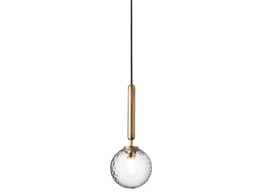 LED blown glass pendant lamp MIIRA 1 BRASS OPTIC by Nuura