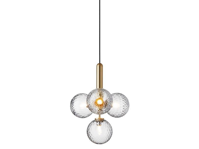 LED blown glass pendant lamp MIIRA 4 BRASS OPTIC by Nuura