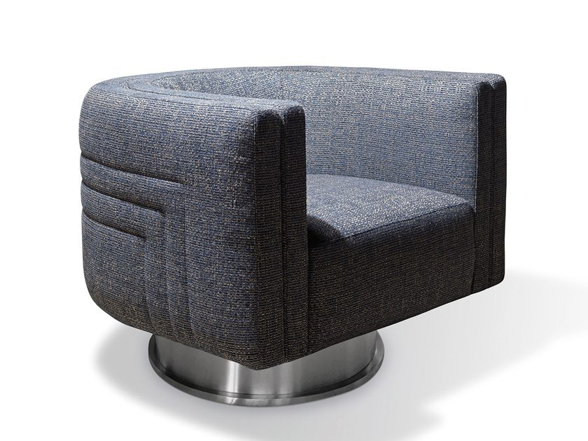 Swivel upholstered fabric armchair MIKA by Visionnaire