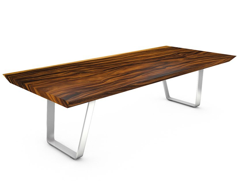 Table with Suar wood top and steel frame MILANO by CONTE CASERTA