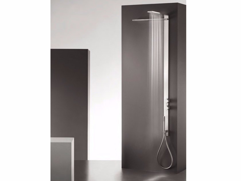 Wall-mounted thermostatic stainless steel shower panel with overhead shower MILANOSLIM WATERFALL by Fantini Rubinetti
