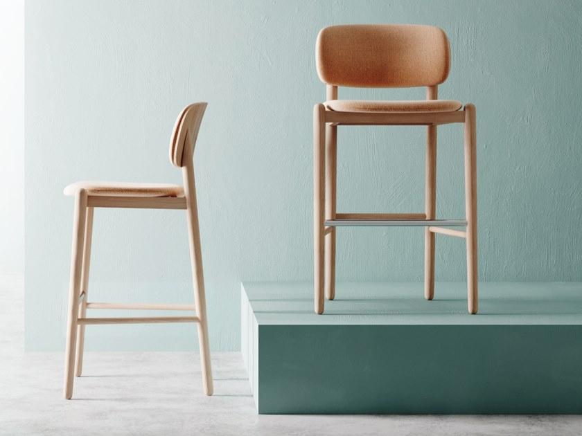 Ash barstool with footrest MILD | Stool by MZPA