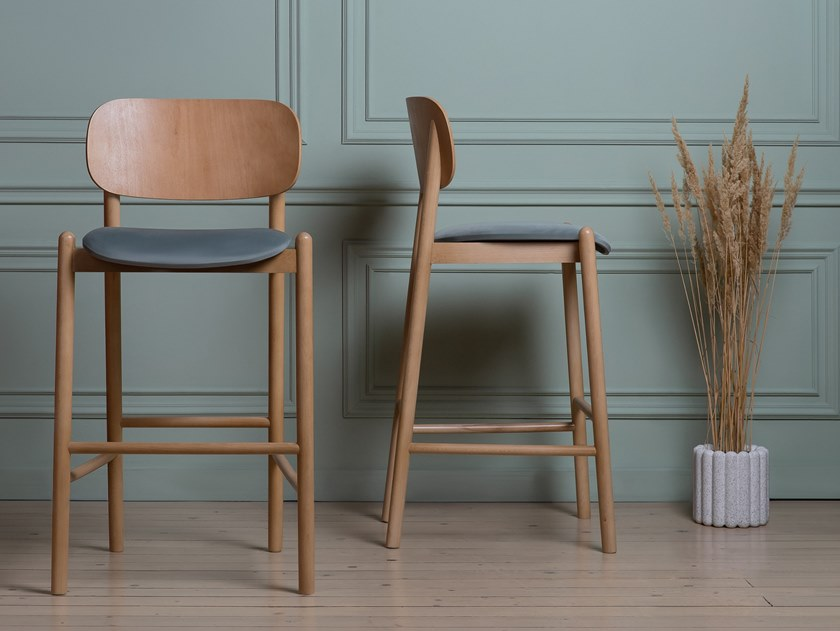 Wooden barstool with footrest MILD | Stool by MZPA