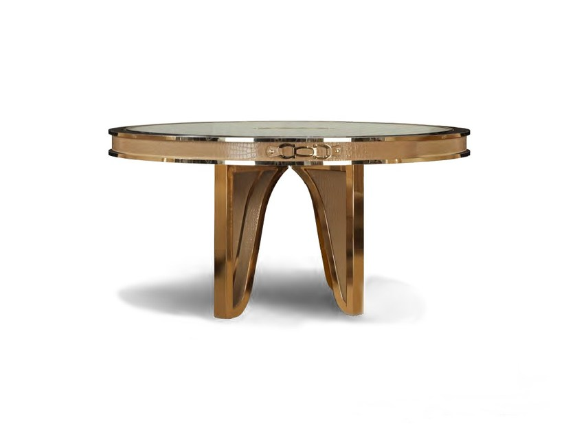 Round leather dining table MILLA | Round table by Formitalia
