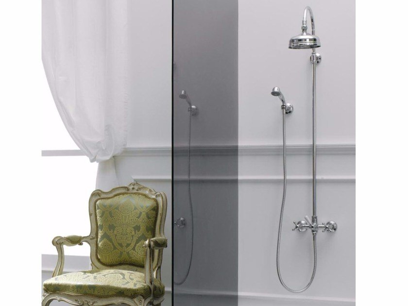 Wall-mounted shower panel with overhead shower MILLE | Shower panel by ZAZZERI