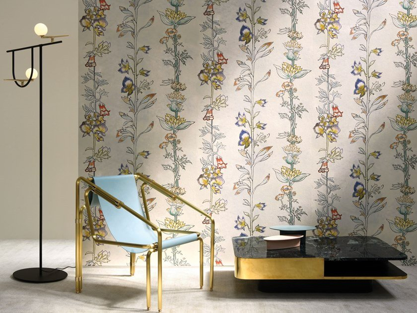 Nonwoven wallpaper with floral pattern MILLY LA FORÊT by LELIEVRE