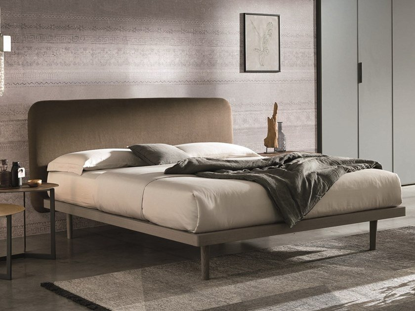 Ash double bed with upholstered headboard MILLY by Gruppo Tomasella