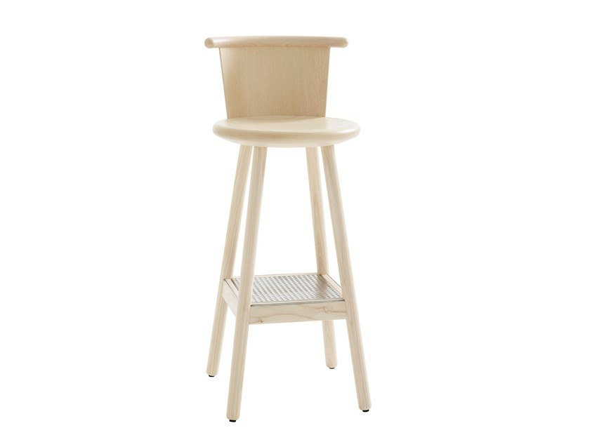 Wooden barstool with footrest MILO | Barstool by Karl Andersson