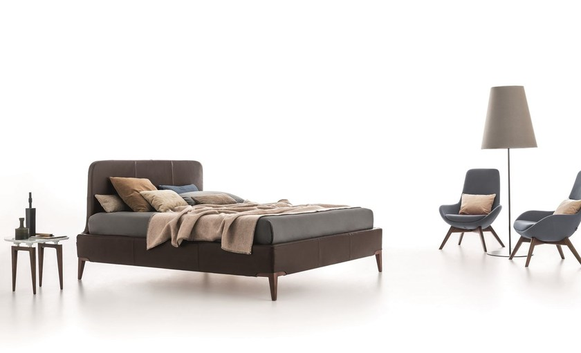 Double bed with upholstered headboard MILONGA by Ditre Italia