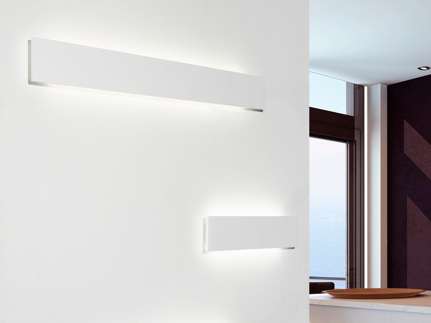 Led indirect light plaster wall lamp milos by sforzin design marco