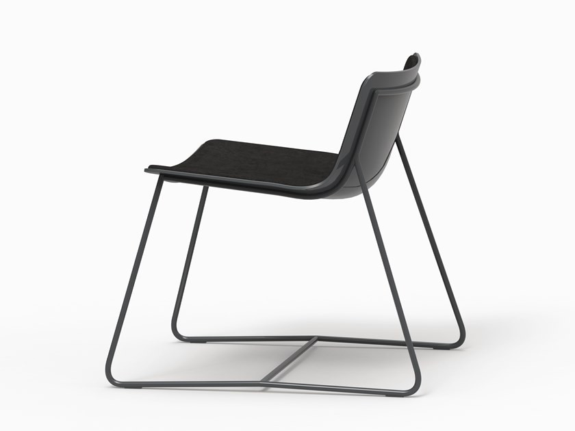 Sled base leather lounge chair MINA by FARELL