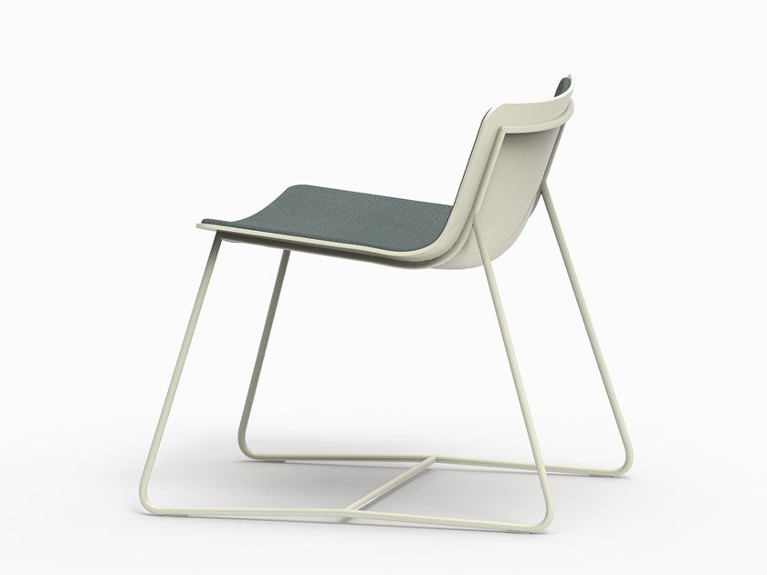 Sled base fabric lounge chair MINA by FARELL