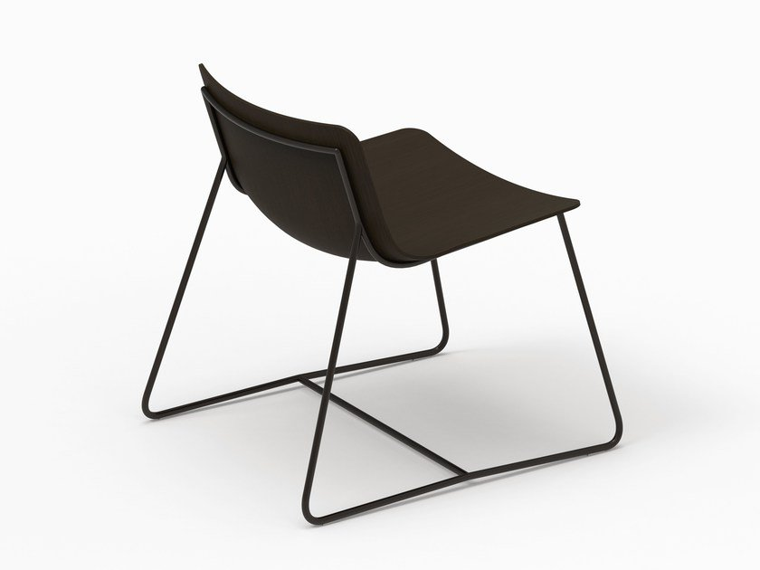 Sled base wooden lounge chair MINA | Wooden easy chair by FARELL