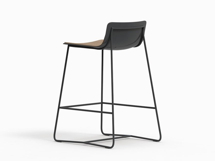 Sled base leather counter stool MINA | Leather stool by FARELL