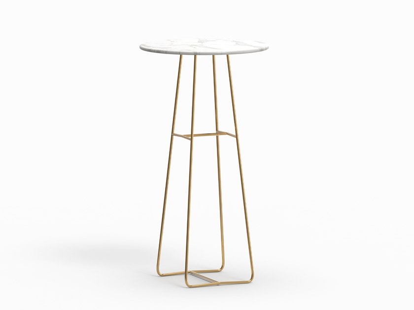 Round marble high table MINA | High table by FARELL