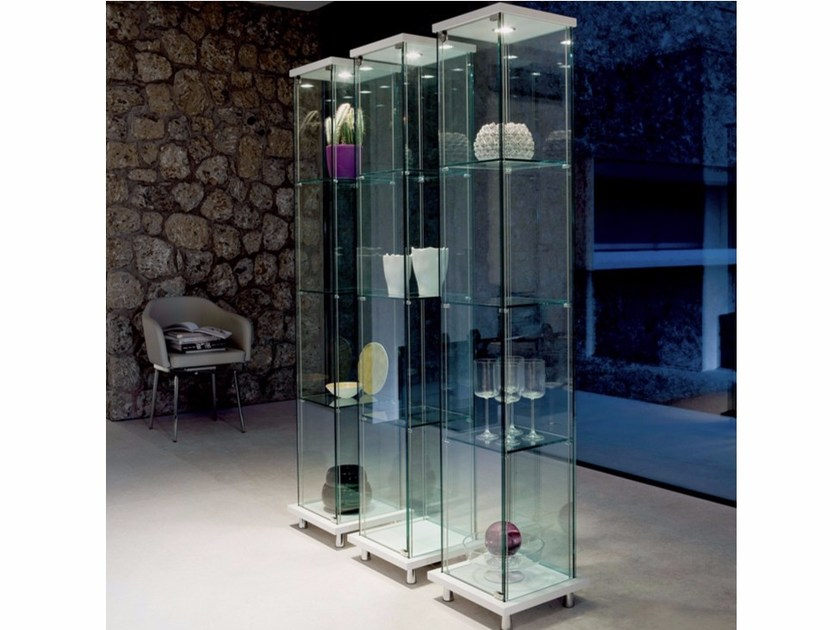 Crystal display cabinet with integrated lighting MINI DECOR by Cattelan Italia