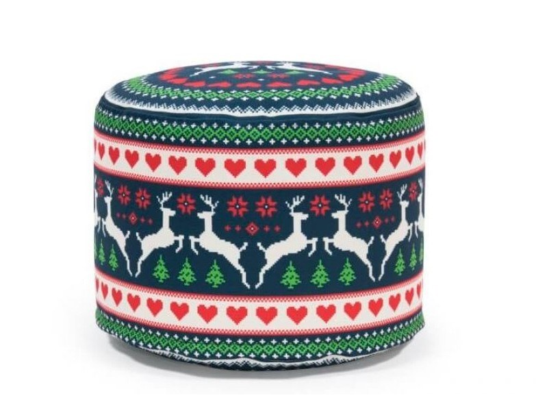 Upholstered round pouf with removable lining MINI DEER by Pusku pusku