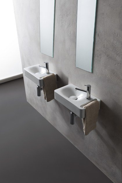 Ceramic handrinse basin with towel rail MINI HUNG | Rectangular handrinse  basin by Scarabeo Ceramiche