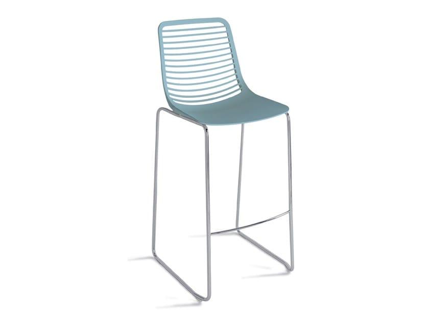 Sgabello da bar in nylon a slitta con poggiapiedi mini stool