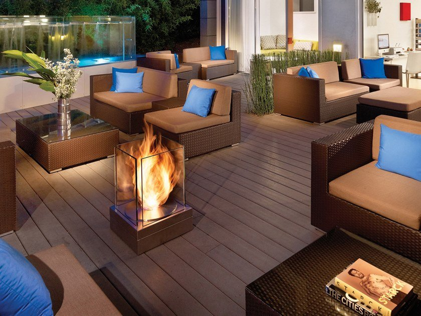 Outdoor Freestanding Bioethanol Fireplace Mini T By Ecosmart Fire