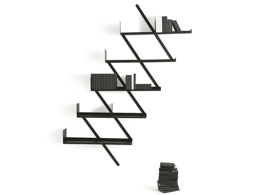 Wall-mounted floating steel bookcase MINIBOOXX by Desalto