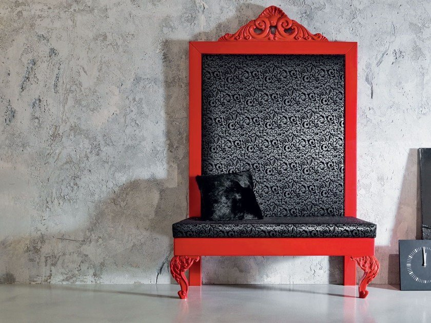 Fabric bench with back MINIMAL BAROQUE | Bench with back by Modenese Gastone