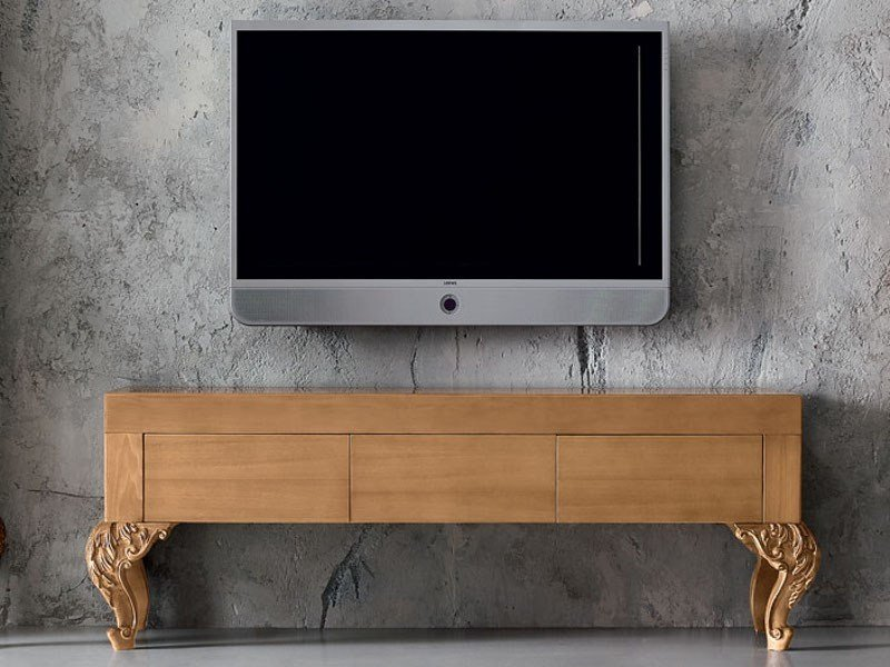 Wooden TV cabinet MINIMAL BAROQUE | TV cabinet by Modenese Gastone