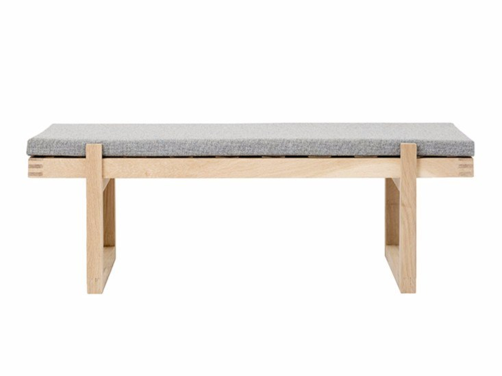 Wooden and fabric bench MINIMAL BENCH by Kristina Dam Studio