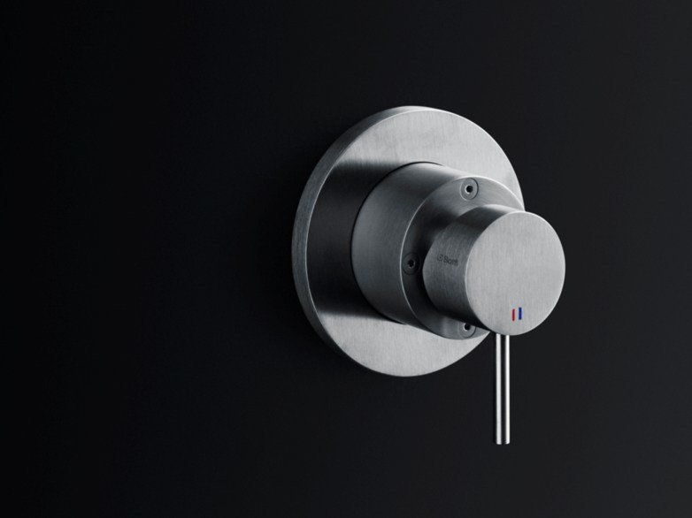 Wall-mounted brushed steel washbasin mixer MINIMAL | Washbasin mixer by Boffi
