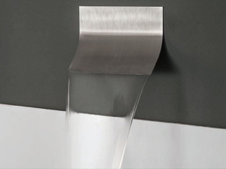 Wall-mounted stainless steel waterfall spout MINOA by tender rain