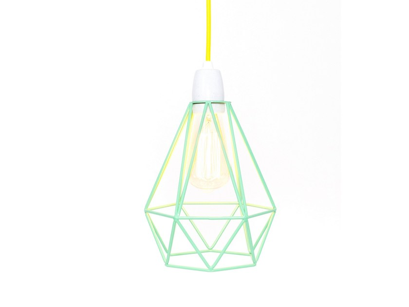 Metal pendant lamp / table lamp MINT CAGE YELLOW FABRIC WIRE by FILAMENTSTYLE