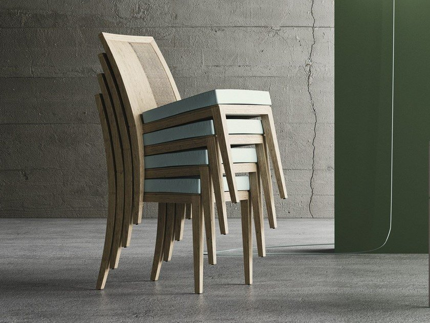 Stackable oak restaurant chair MINUETTO S by Imperial Line