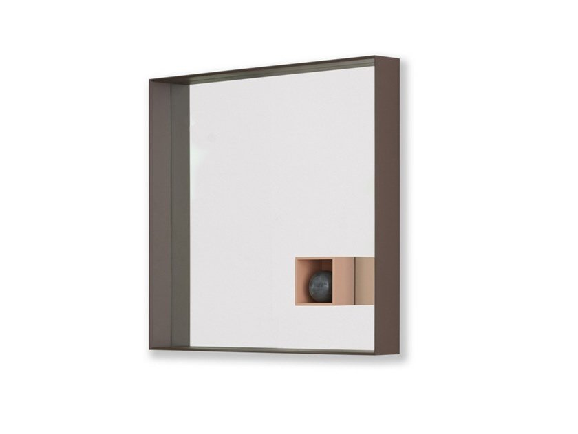 Square wall-mounted framed mirror MIR | Square mirror by Desalto