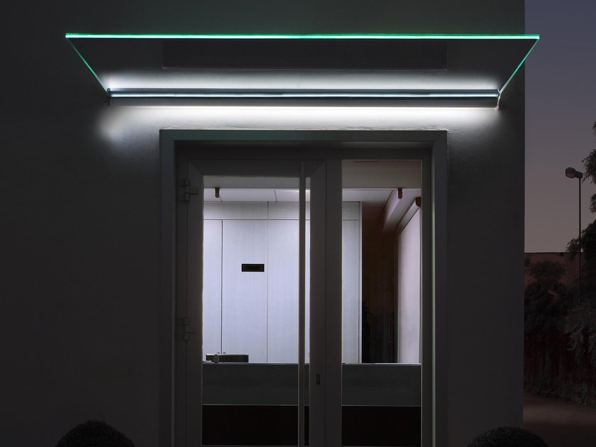 Glass door canopy with built-in lights MIRA by Nuova Oxidal