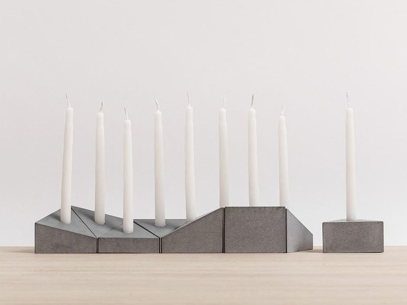 Concrete candle holder HANUKIAH LOGIFACES EDITION by Planbureau