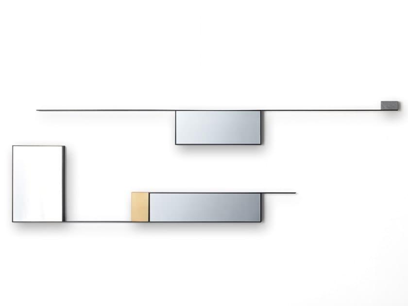 Specchio in acciaio con cornice da parete MIRROR LINES by MDF Italia