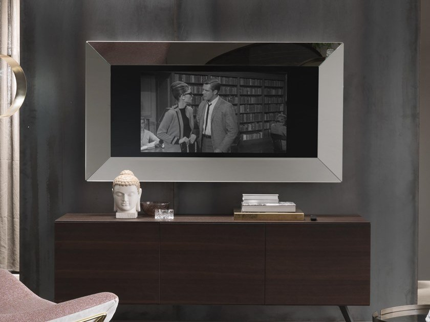 Framed wall-mounted aluminium mirror MIRRORING TV by RIFLESSI