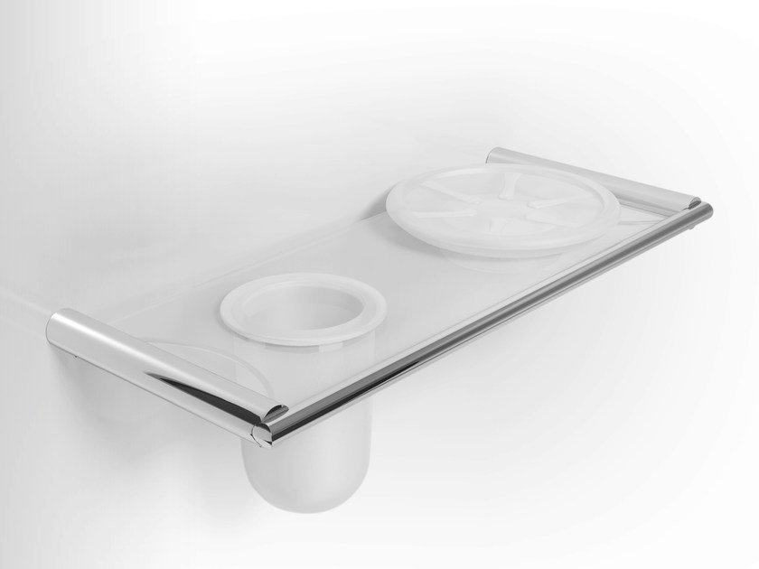 Etched glass soap dish / toothbrush holder MIRTO | Wall-mounted soap dish by Alna