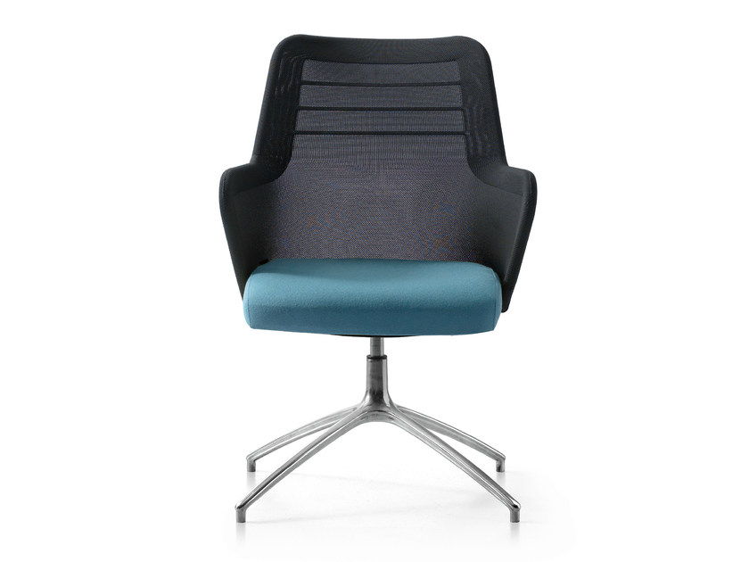Height-adjustable swivel fabric task chair with armrests MISS MESH | Task chair with 4-Spoke base by Quinti Sedute