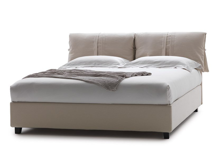 Fabric bed double bed with upholstered headboard MISTRAL by Flexstyle