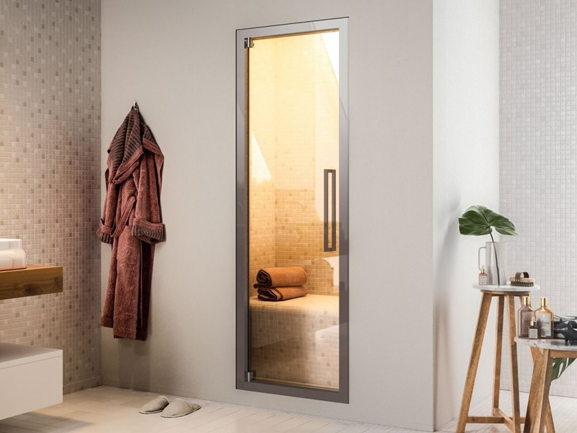 Hinged glass door for hammam spaces MISTY by Blu Bleu