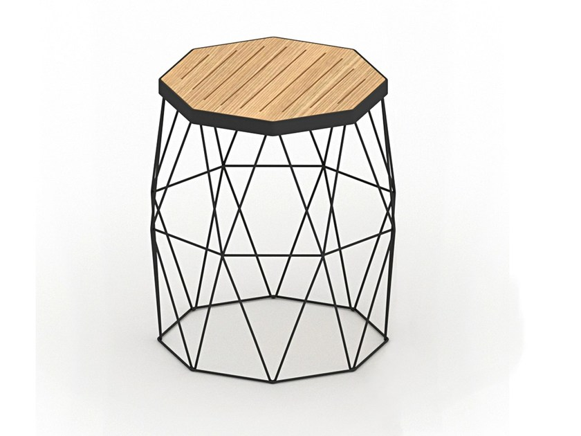 Steel and wood stool MITI STOOL by Specimen Editions