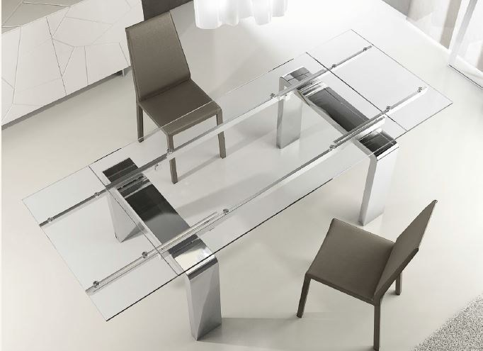 Contemporary style extending crystal kitchen table MITO L | Extending table by RIFLESSI
